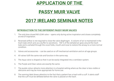 Passy-Muir Seminar Notes – Ireland 2017