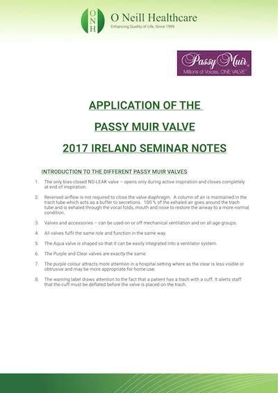 Passy-Muir Seminar Notes – Ireland 2017