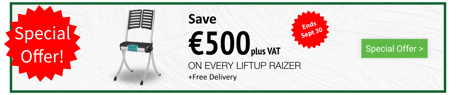 Liftup Raizer - Special Offer - Home Banner - September 2019 - O Neill Healthcare