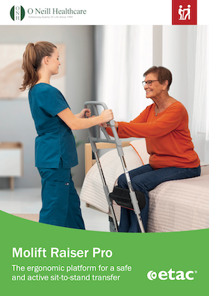 Molift Raiser Pro - Sit To Stand Transfer Aid - Brochure Cover - O Neill Healthcare