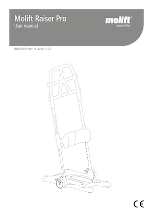 Molift Raiser Pro - Sit To Stand Transfer Aid - User Manual Cover - O Neill Healthcare