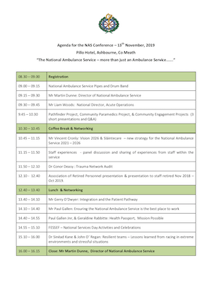 Agenda for the NAS Conference 2019