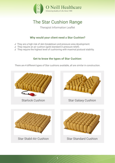 Star Cushion Range Therapist Information Leaflet
